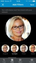 LinkedIn mobiilialustan kuvafilterit